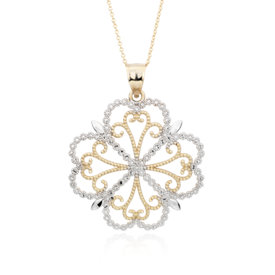 Filigree Clover Pendant in 14k White and Yellow Gold
