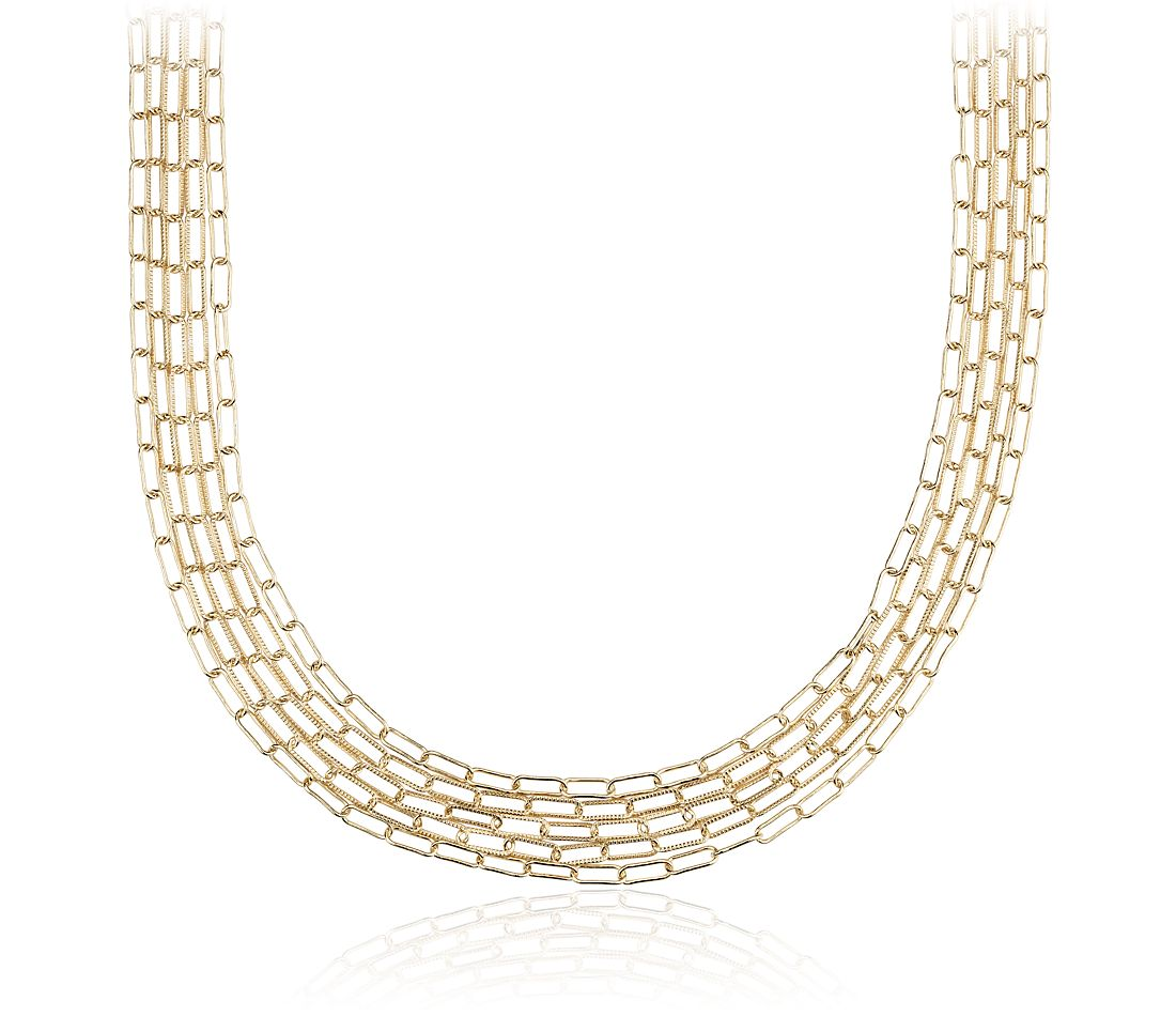 Delicate Five Row Necklace in 14k Yellow Gold