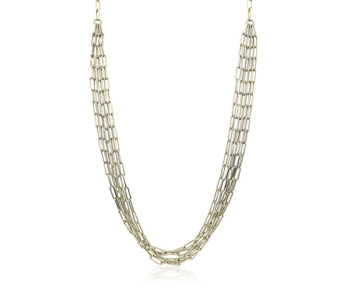 Five Row Paperclip Necklace in 14k Italian Yellow Gold