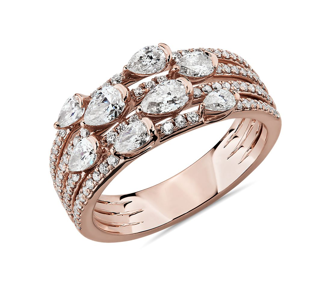 14k 玫瑰金 Delicate Multi-Row Pear Cut Diamond Fashion Ring<br>(1 1/10 克拉总重量)