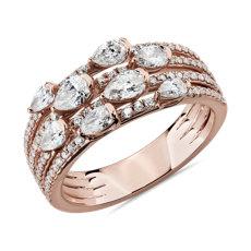 新款 14k 玫瑰金精美多排梨形切割时尚戒指<br>(1 1/10 克拉总重量)