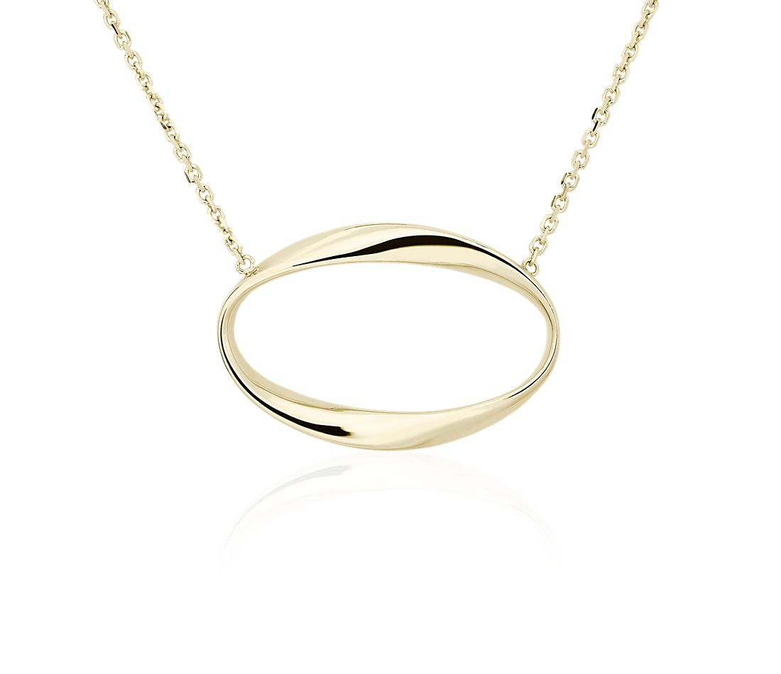 Delicate Oval Necklace in 14k Yellow Gold