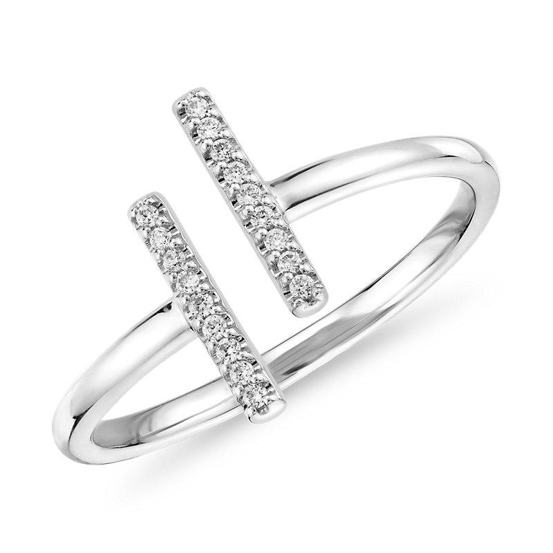 Delicate Pavé Split Bar Diamond Fashion Ring in 14k White