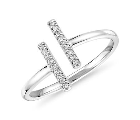 14k 白金精巧分岔条形密钉钻石时尚戒指