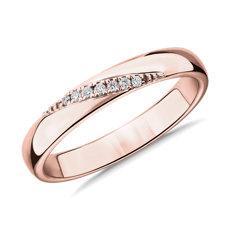 NEW Diagonal Diamond Channel Female Ring in 14k Rose Gold