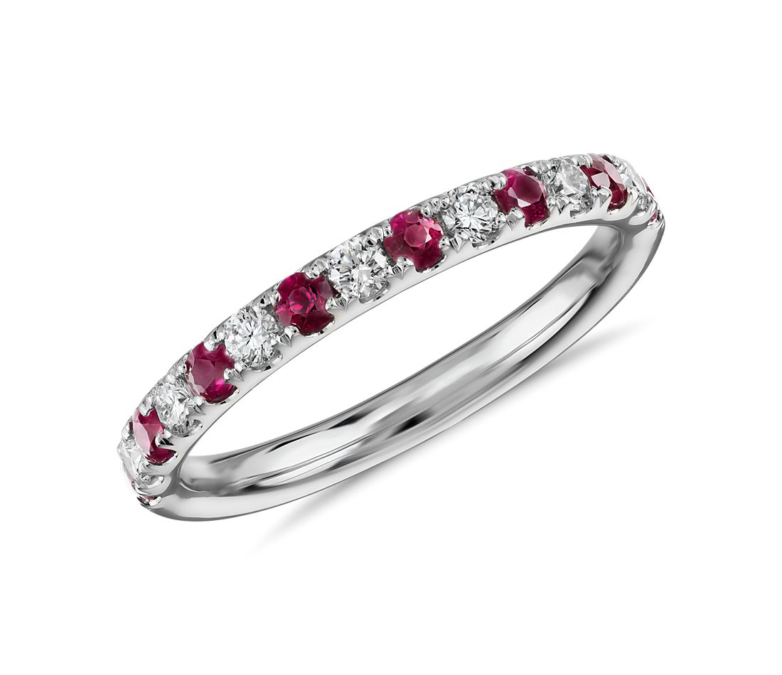 Ruby and Diamond Ring in 18k White  Gold (1.9 mm)