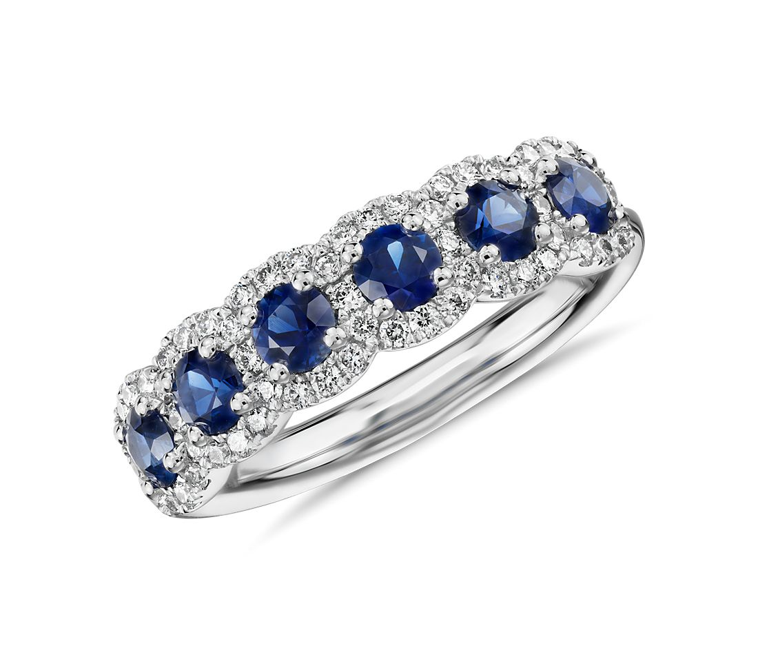 Diamond and Sapphire Halo Anniversary Ring in 18k White Gold (1/3 ct. tw.)