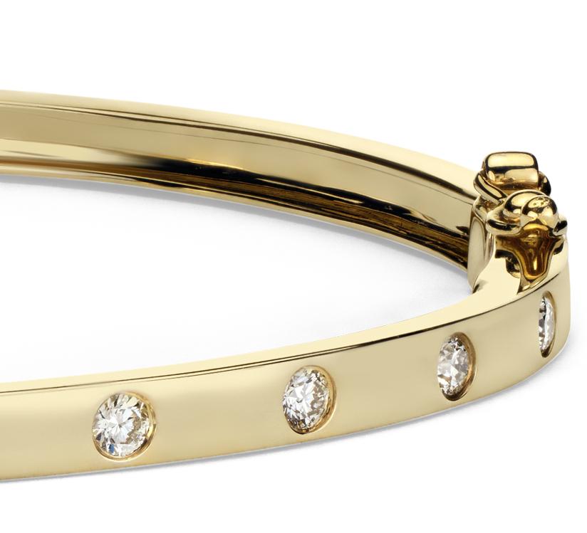 Esclava de diamantes en oro amarillo de 14k (1/2qt. total)