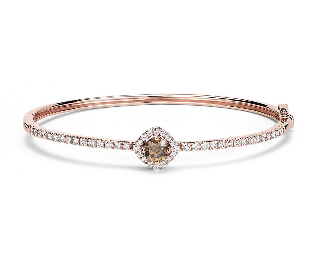 Champagne Diamond Bangle Bracelet In 14k Rose Gold 1 80 Ct Tw