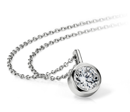 Bezel Solitaire Pendant Setting in 14k White Gold