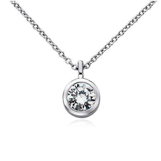 bezel solitaire pendant setting in 14k white gold blue nile