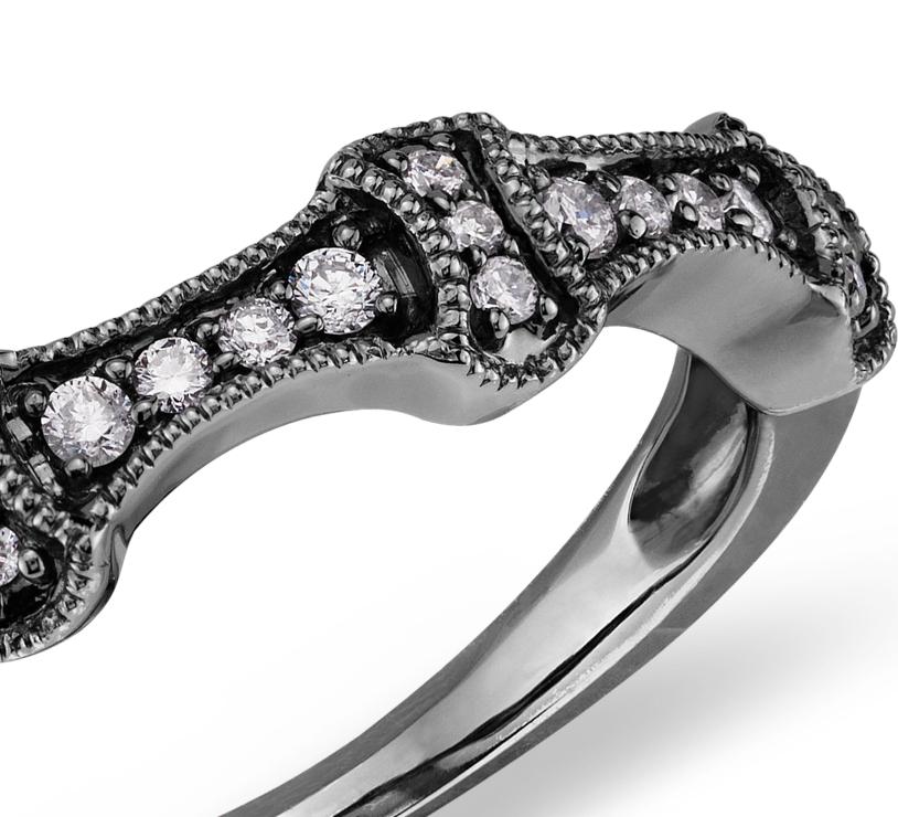Anillo de diamantes vintage en oro blanco de 14 k con Rodio negro