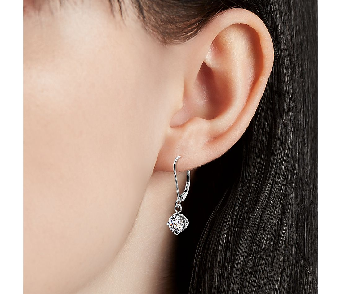 Four-Claw Leverback Drop Earrings in 14k White Gold