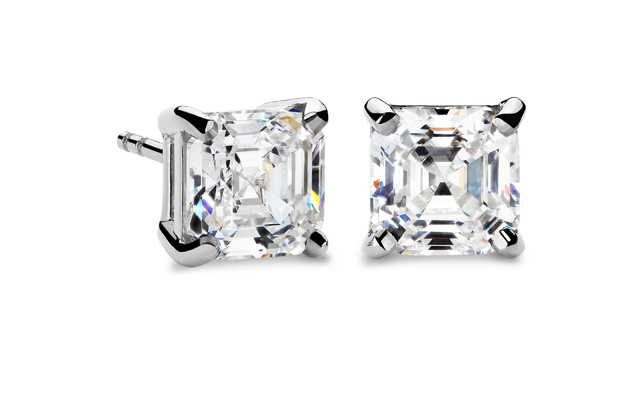 Four-Prong Earrings in 14k White Gold
