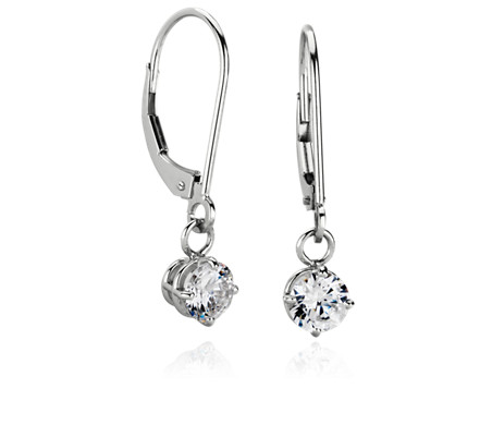 Four-Claw Leverback Dangle Earrings in 14k White Gold