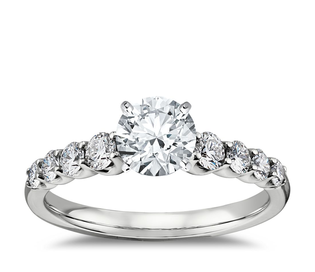 Graduated side stone diamond engagement ring in 14k white for Diamond wedding ring settings
