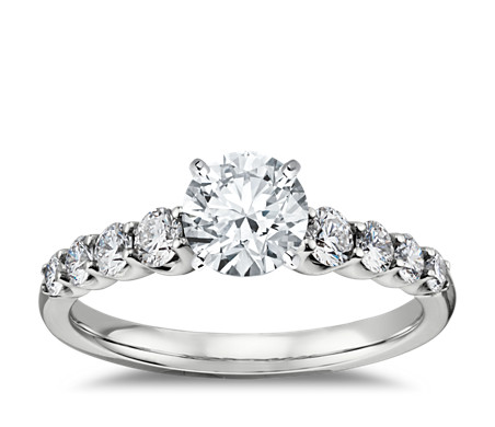 in shaped ring cut shadow me diamonds platinum three side diamond with engagement round pear stone rings