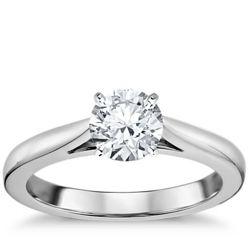 White Wedding Espa L: Tapered Cathedral Solitaire Engagement Ring In 14k White