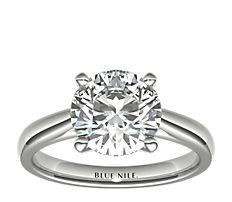 14k 白金尖頂大教堂單石訂婚戒指