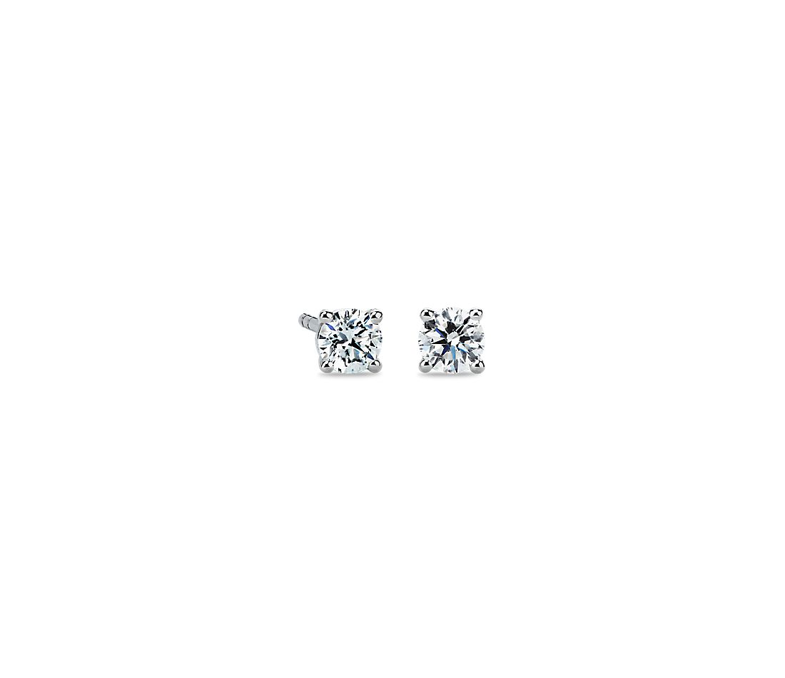 Diamond Stud Earrings In 14k White Gold 1 2 Ct Tw