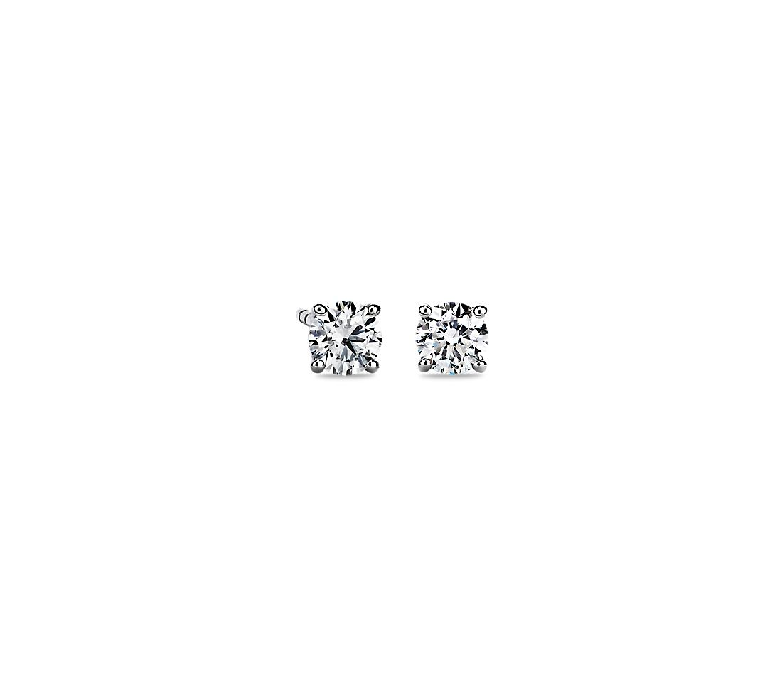 Diamond Stud Earrings In 14k White Gold 3 4 Ct Tw