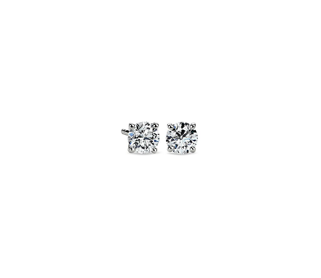 Diamond Stud Earrings In 14k White Gold 1 Ct Tw
