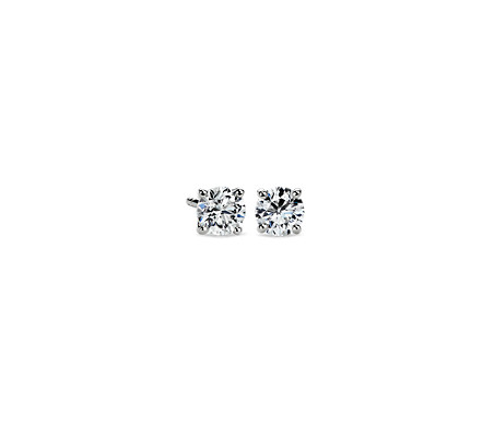 p white v tw t ct gold diamond earrings stud princess in cut carat w solitaire