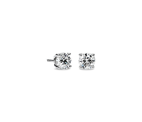 14k White Gold Four-Claw Diamond Stud Earrings (1 1/2 ct. tw.)