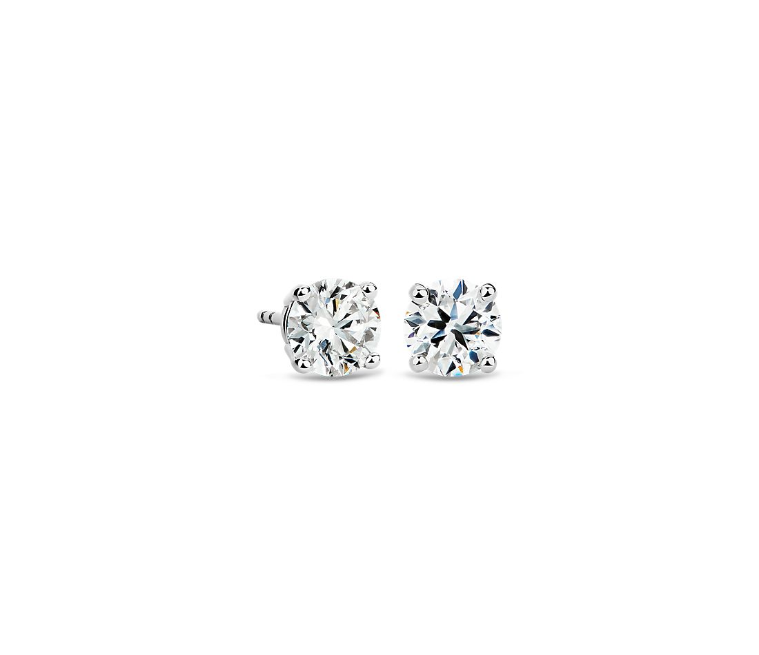 14k White Gold Four-Claw Diamond Stud Earrings (1.96 ct. tw.)