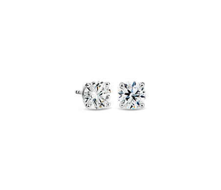 Diamond Stud Earrings In 14k White Gold 2 Ct Tw
