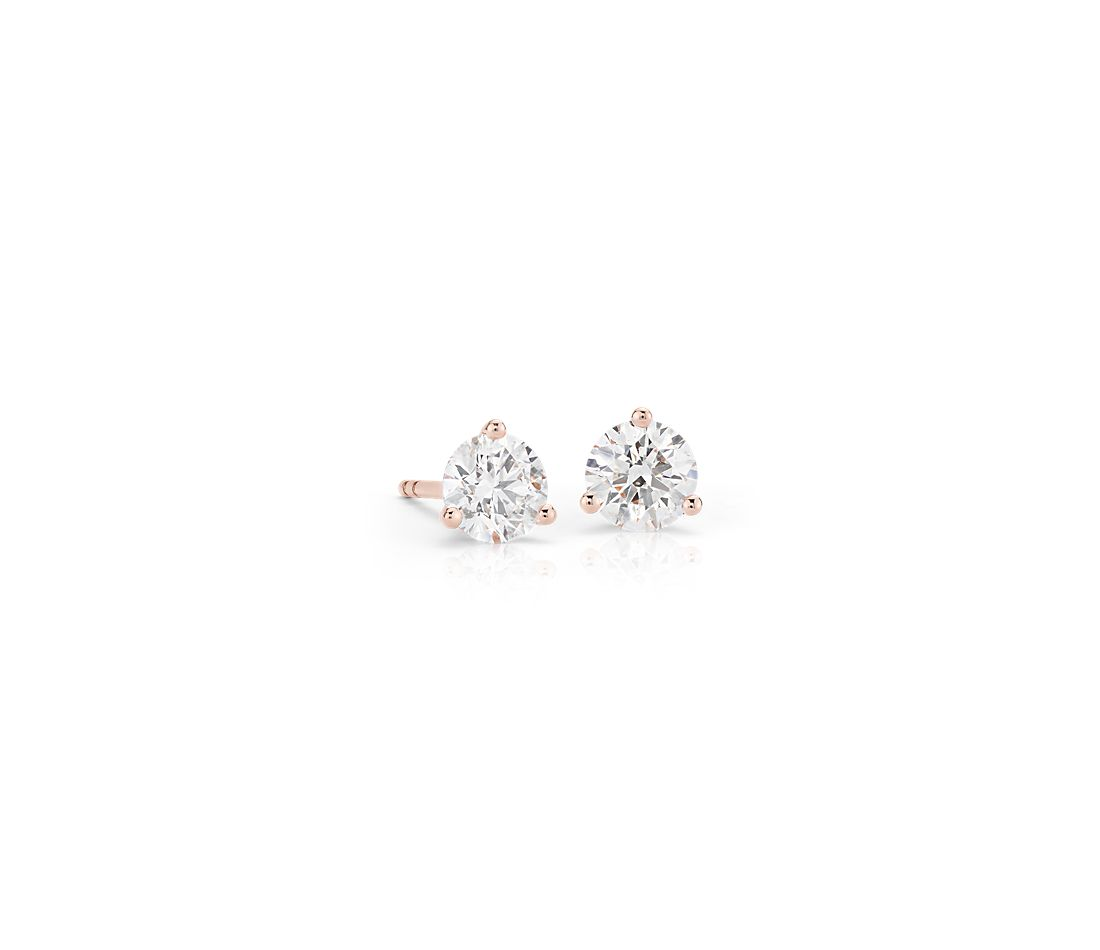 Diamond Stud Earrings In 14k Rose Gold 1 Ct Tw