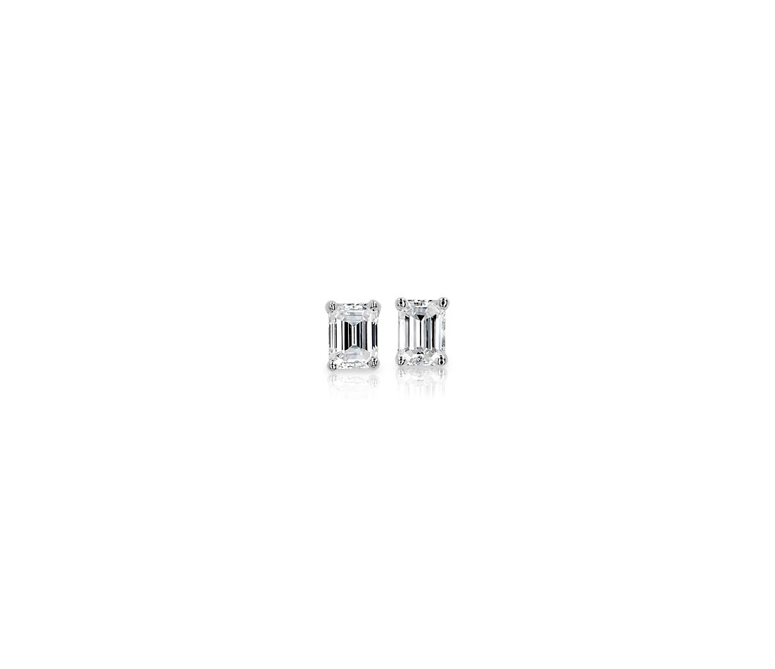 14k White Gold Four-Claw Emerald Diamond Stud Earrings (0.46 ct. tw.)
