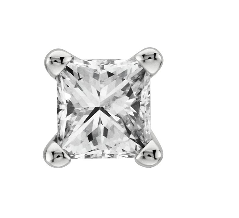 Puces d'oreilles diamant taille princesse en or blanc 18carats (0,40carat, poids total)