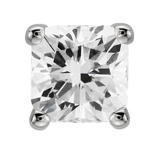 Aretes de diamante de talla cojín en oro blanco de 14 k (1/2 qt. total)