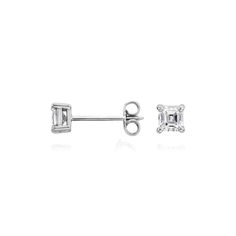 Asscher Diamond Stud Earrings in 14k White Gold (1/2 ct. tw.)