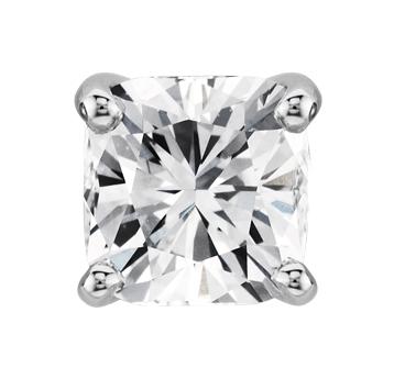 Aretes de diamante de talla cojín en oro blanco de 14 k (3/4 qt. total)