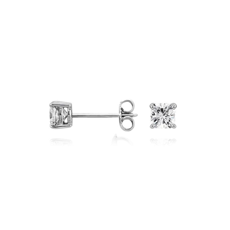 Cushion Diamond Stud Earrings in 14k White Gold (3/4 ct. tw.)