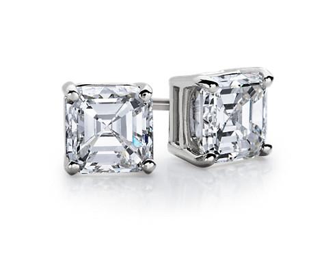 14k 白金上丁方形钻石耳钉<br>(3/4 克拉总重量)