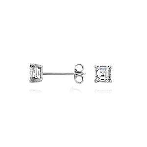 Aretes de diamante de talla Asscher en oro blanco de 14 k (3/4 qt. total)