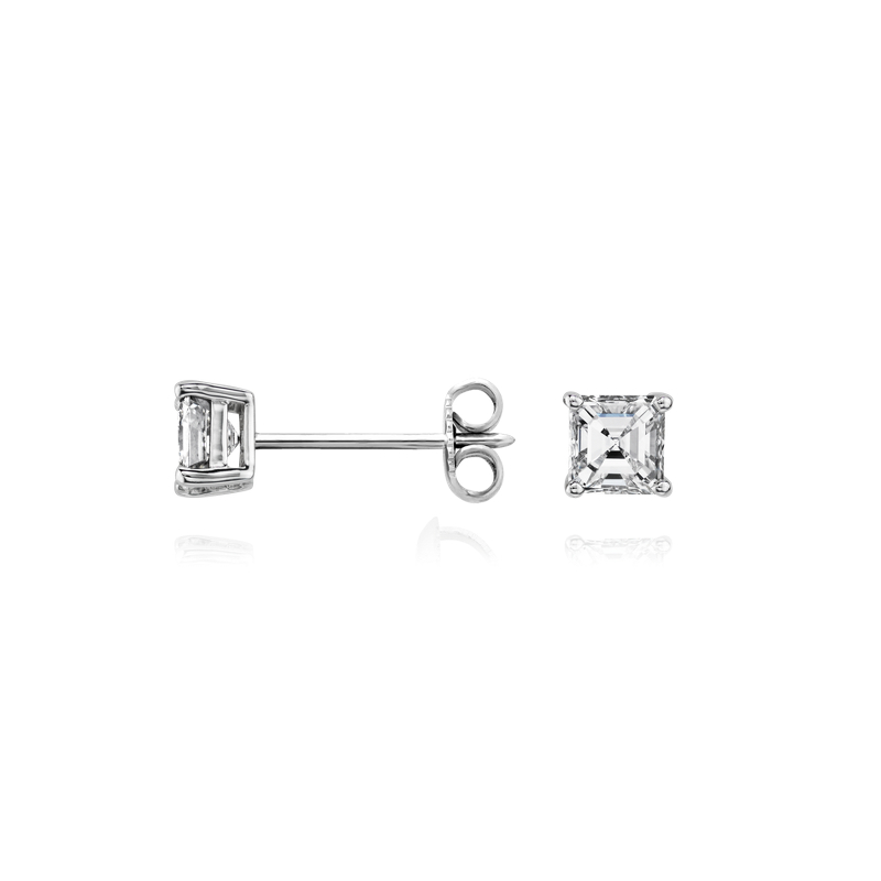 Asscher Diamond Stud Earrings in 14k White Gold (3/4 ct. tw.)