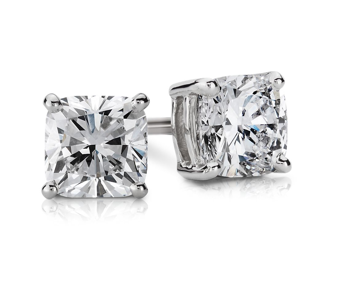 Cushion Diamond Stud Earrings In 14k White Gold 1 Ct Tw