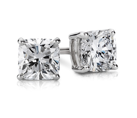 1 Carat Cushion Diamond Stud Earrings in 14k White Gold