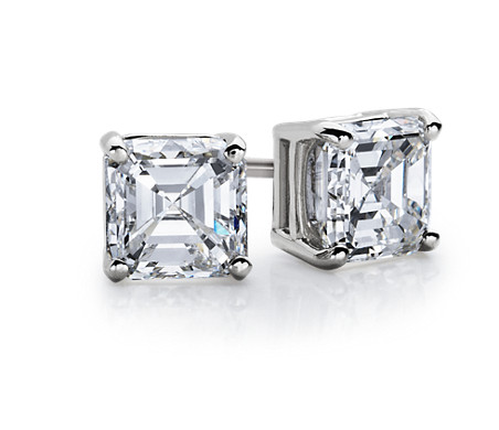 1 Carat Asscher Diamond Stud Earrings in 14k White Gold