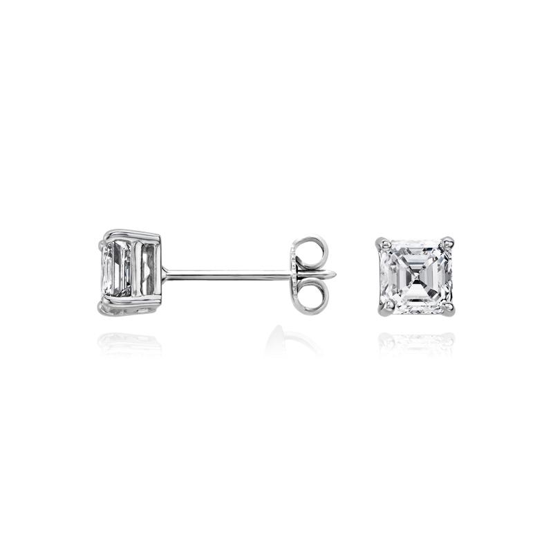 Asscher Diamond Stud Earrings in 14k White Gold (1 ct. tw.)