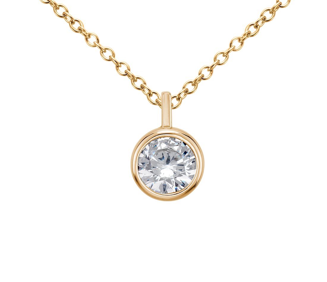 Bezel Solitaire Pendant Setting in 14K Yellow Gold