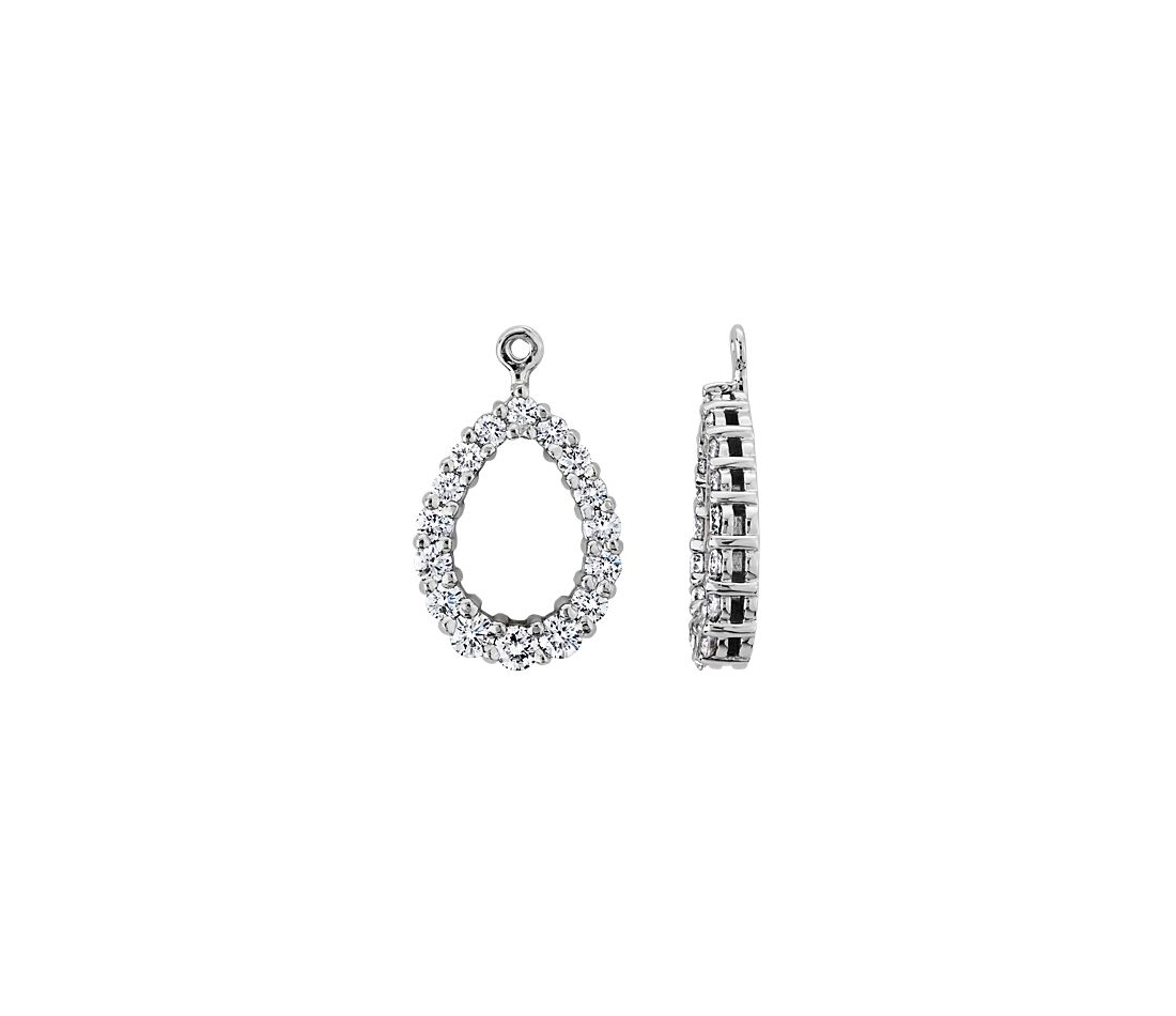 Diamond Earring Jackets In 18k White Gold 1 Ct Tw