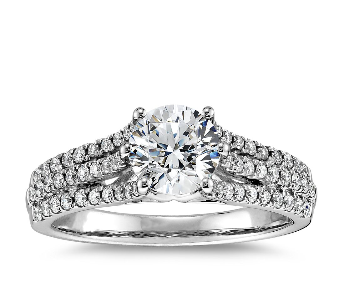 Trio Micropavé Diamond Engagement Ring in 18k White Gold