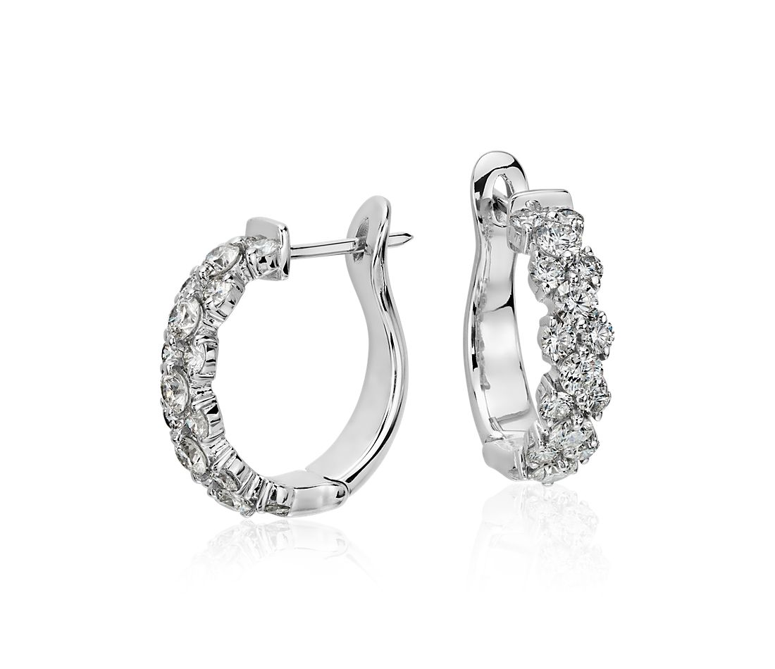 garland hoop diamond earrings in 18k white gold 2 ct tw. Black Bedroom Furniture Sets. Home Design Ideas