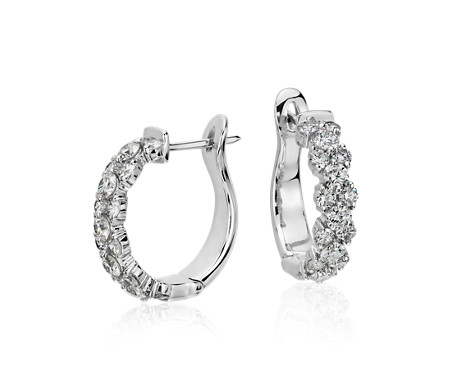 white diamond c gold earrings three stone