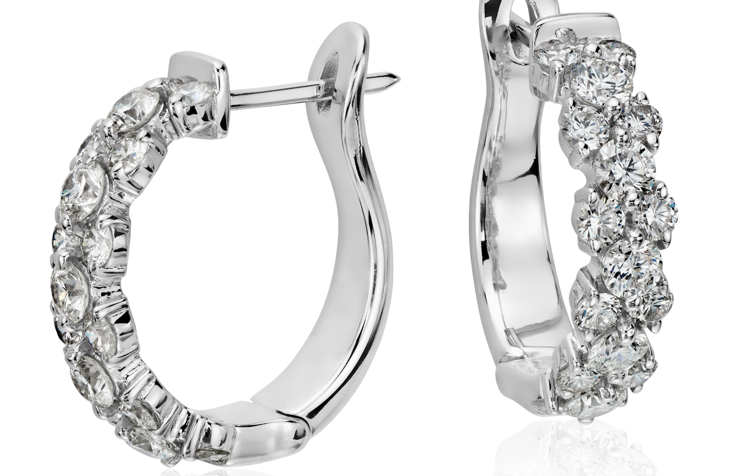Garland Hoop Diamond Earrings in 18k White Gold (2 ct. tw.)